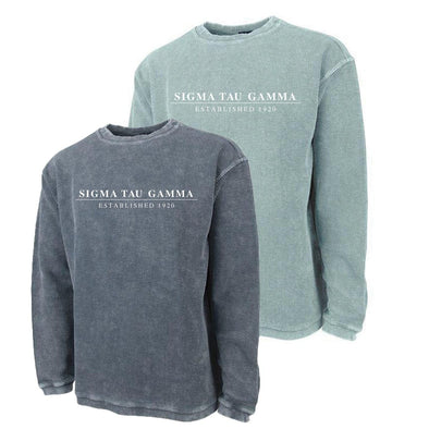 New! Sig Tau Charles River Corded Crew Sweatshirt