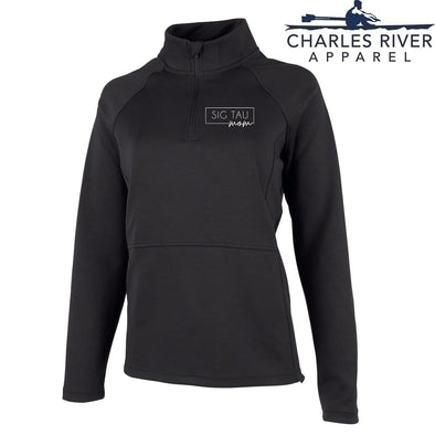 New! Sig Tau Charles River Mom Black Quarter Zip