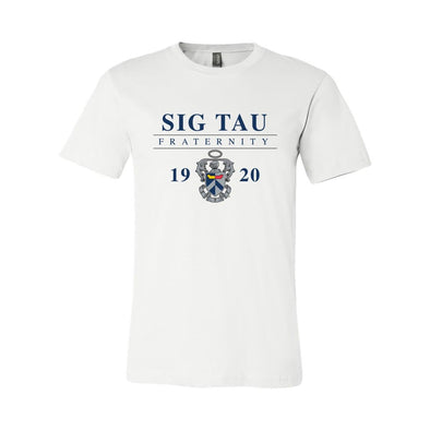 New! Sig Tau Classic Crest Short Sleeve Tee