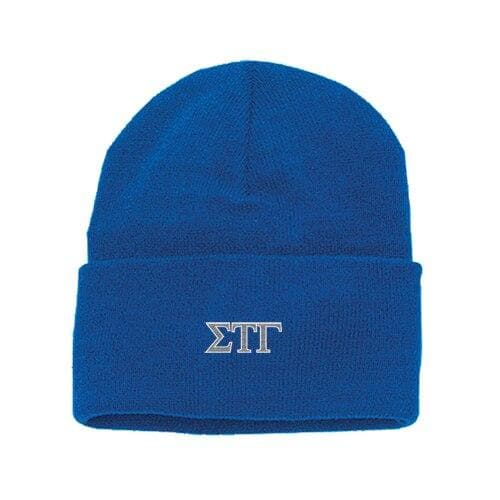 Sig Tau Blue Classic Knit Roll-Up Hat