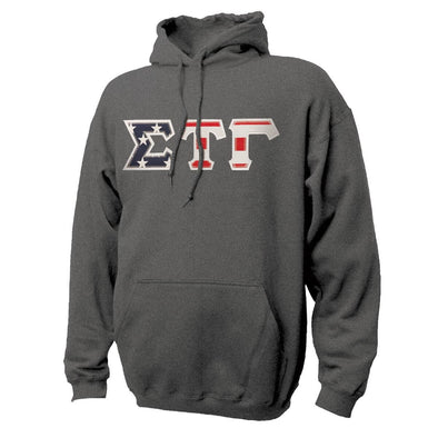 Sig Tau Stars & Stripes Sewn On Letter Hoodie
