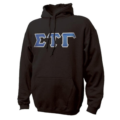 Sig Tau Black Hoodie with Sewn On Greek Letters