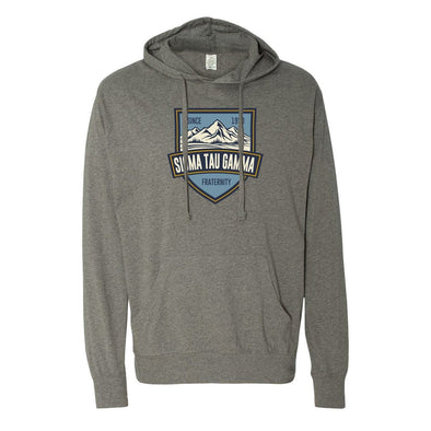 Sig Tau Lightweight Mountain T-Shirt Hoodie