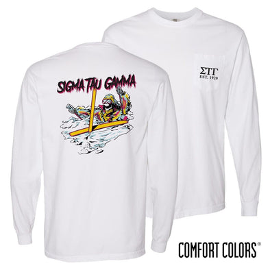 New! Sig Tau Comfort Colors White Long Sleeve Ski-leton Tee