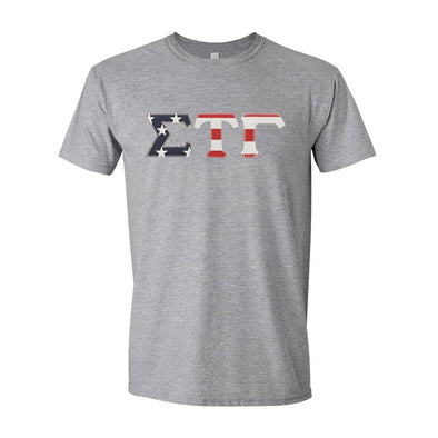 Sig Tau Stars & Stripes Sewn On Letter Tee