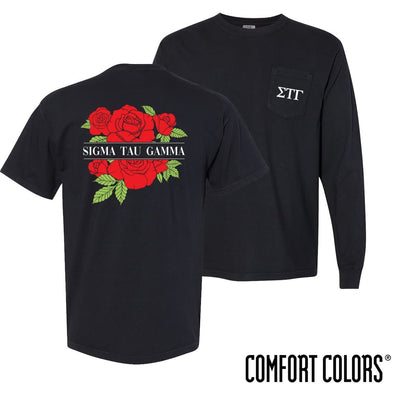 New! Sig Tau Comfort Colors Black Rose Pocket Tee