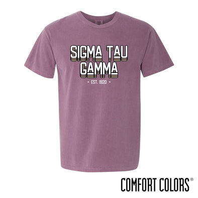 New! Sig Tau Comfort Colors Short Sleeve Berry Retro Tee