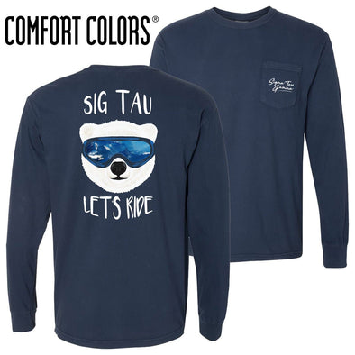New! Sig Tau Comfort Colors Navy Let's Ride Long Sleeve Pocket Tee