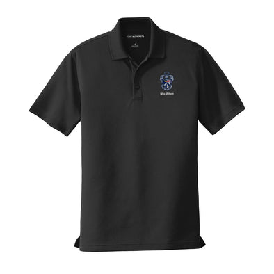 New! Personalized Sig Tau Crest Black Performance Polo