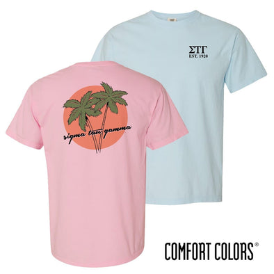 New! Sig Tau Comfort Colors Palm Trees Tee