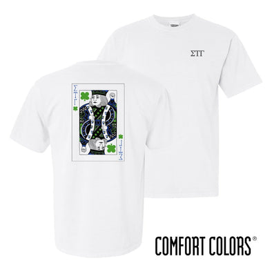 Sig Tau Comfort Colors White Short Sleeve Clover Tee
