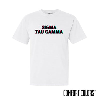 New! Sig Tau Comfort Colors White Glitch Short Sleeve Tee