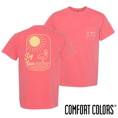 New! Sig Tau Comfort Colors Tropical Flamingo Short Sleeve Tee