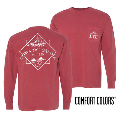 Sale! Sig Tau Crimson Comfort Colors Long Sleeve Pocket Tee