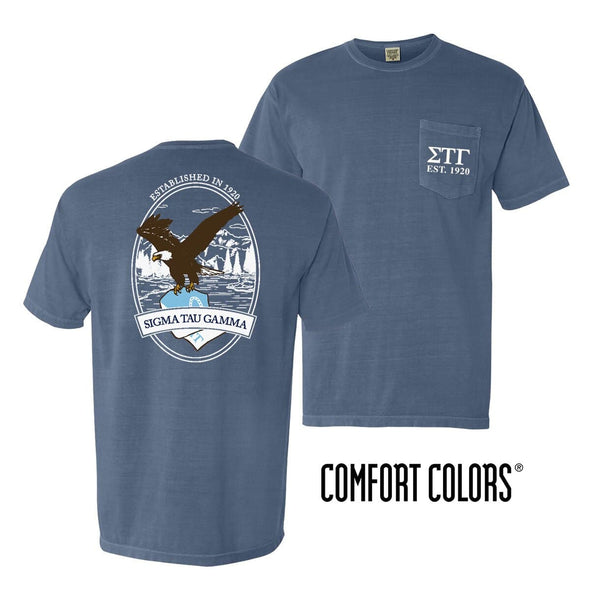 Sig Tau Vintage Blue Comfort Colors Eagle Tee