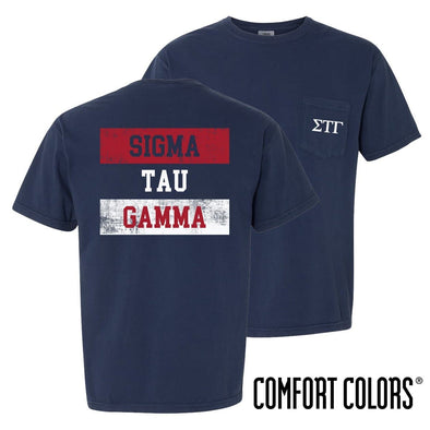 New! Sig Tau Comfort Colors Red White and Navy Short Sleeve Tee