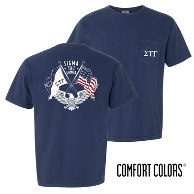 New! Sig Tau Comfort Colors Short Sleeve Navy Patriot tee