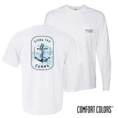 New! Sig Tau Comfort Colors White Anchor Pocket Tee