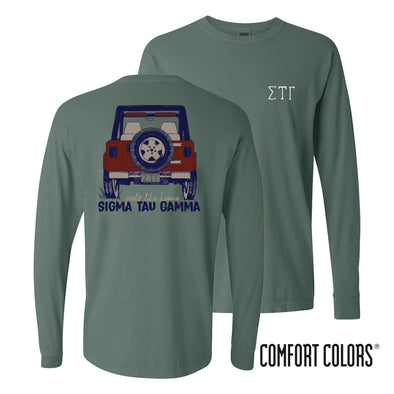 Sig Tau Comfort Colors Jeep Long Sleeve Tee