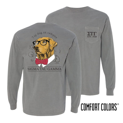 Sig Tau Comfort Colors Campus Retriever Pocket Tee