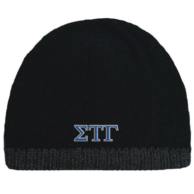 Sale! Sig Tau Black Knit Beanie with Fleece Lining