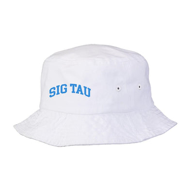 New! Sig Tau Title White Bucket Hat