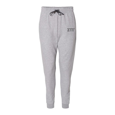 Sig Tau Heather Grey Contrast Joggers