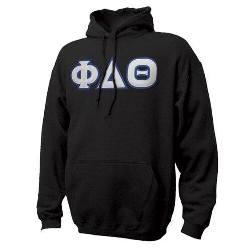 Phi Delt Black Hoodie with Sewn On Letters