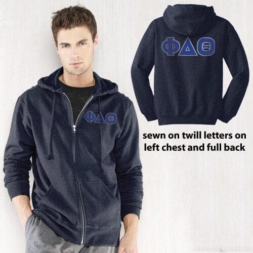 Clearance! Phi Delt Heather Navy Full-Zip Hoodie with Sewn On Letters