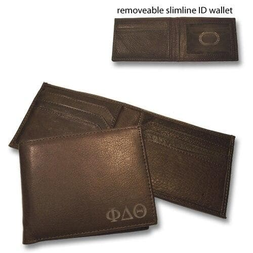 Sale! Phi Delt Brown Bi-Fold Greek Letter Wallet