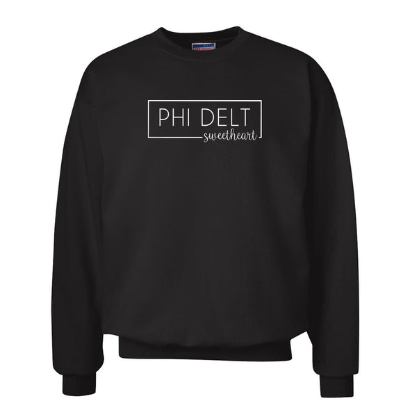 New! Phi Delt Sweetheart Black Crewneck