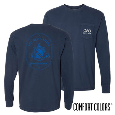 Phi Delt Comfort Colors Navy Badge Long Sleeve Pocket Tee