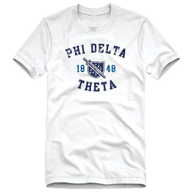 Phi Delt White Distressed Crest Tee