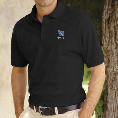 Phi Delt Black Shield Polo