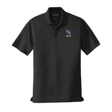 New! Phi Delt Crest Black Performance Polo