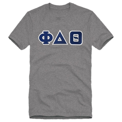 Phi Delt Heather Gray Sim Stitch Letter Tee