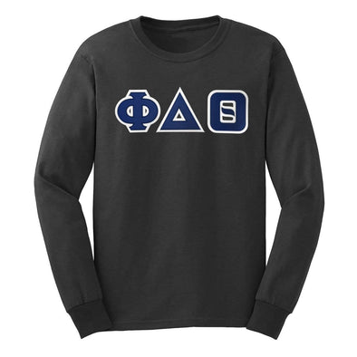 Phi Delt Dark Heather Sim Stitch Letter Long Sleeve Tee