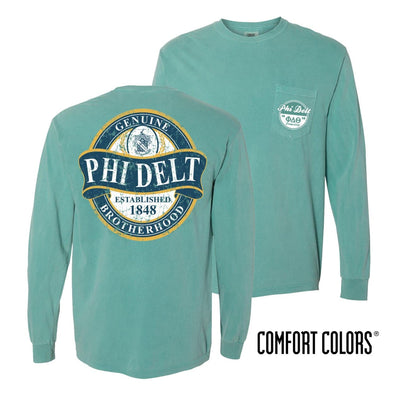 Phi Delt Faded Green Comfort Colors Long Sleeve Pocket Tee