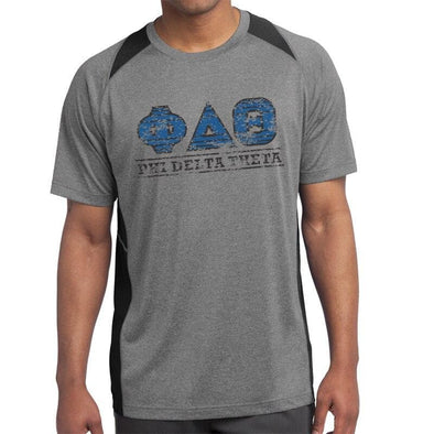 Clearance! Phi Delt Gray & Black Performance Short Sleeve Tee