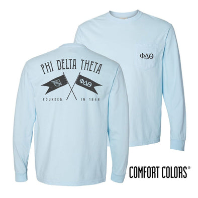 Phi Delt Light Blue Comfort Colors Long Sleeve Pocket Tee