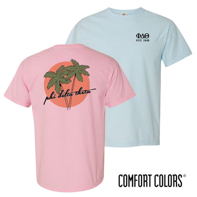 New! Phi Delt Comfort Colors Palm Trees Tee