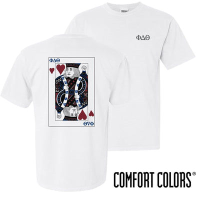 New! Phi Delt Comfort Colors White King of Hearts Short Sleeve Tee