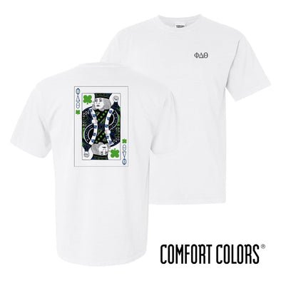 New! Phi Delt Comfort Colors White Short Sleeve Clover Tee