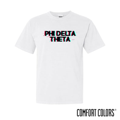 New! Phi Delt Comfort Colors White Glitch Short Sleeve Tee