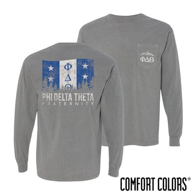 Phi Delt Gray Comfort Colors Flag Long Sleeve Pocket Tee