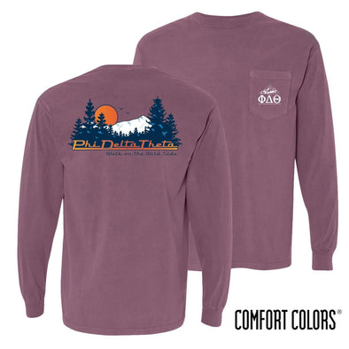 Phi Delt Comfort Colors Berry Retro Wilderness Long Sleeve Pocket Tee