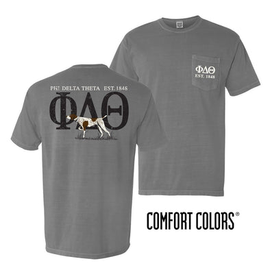 Phi Delt Gray Comfort Colors Pocket Tee