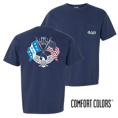 New! Phi Delt Comfort Colors Short Sleeve Navy Patriot tee