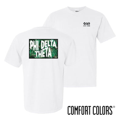 New! Phi Delt Comfort Colors White Short Sleeve Jungle Tee