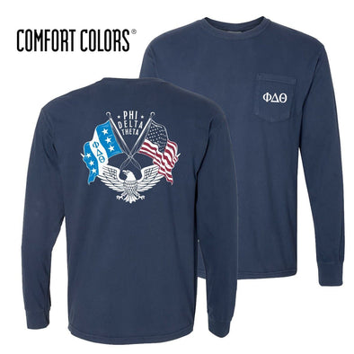 Phi Delt Comfort Colors Long Sleeve Navy Patriot tee